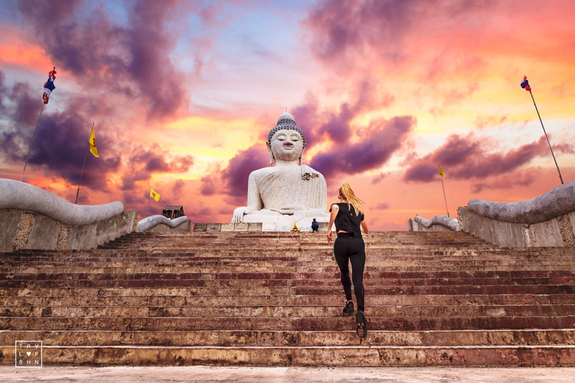 How to stay fit on Vacation on Travellovefashion.com. Big Buddha in Phuket, Thailand at sunset.